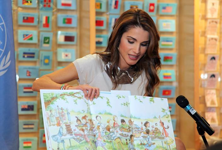 NEW YORK - APRIL 27: In this handout image provided by the Jordan Royal Household, Queen Rania of Jordan reads aloud from her new book