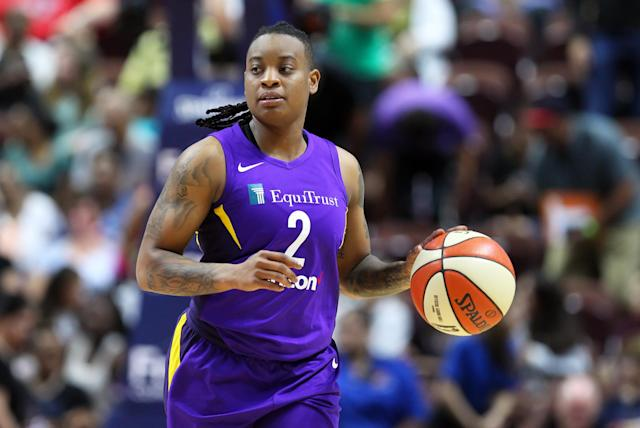 """<a class=""""link rapid-noclick-resp"""" href=""""/wnba/players/5014/"""" data-ylk=""""slk:Riquna Williams"""">Riquna Williams</a> is accused of repeatedly striking an ex-girlfriend and threatening man with a gun. (Photo by M. Anthony Nesmith/Icon Sportswire via Getty Images)"""