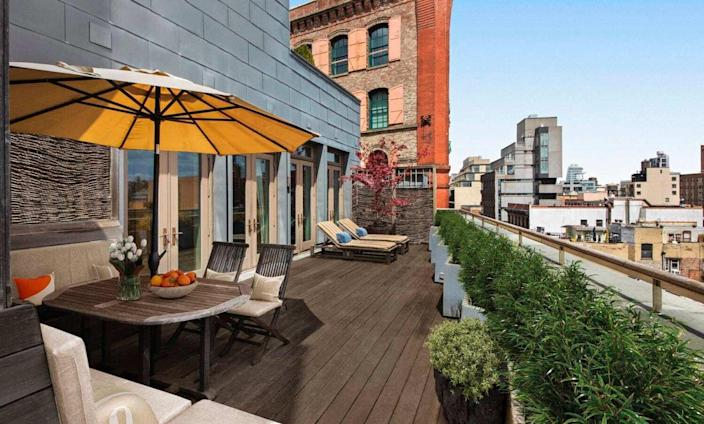 Gorgeous view of NYC's SoHo area from out on the terrace of David Bowie's old Manhattan apartment.