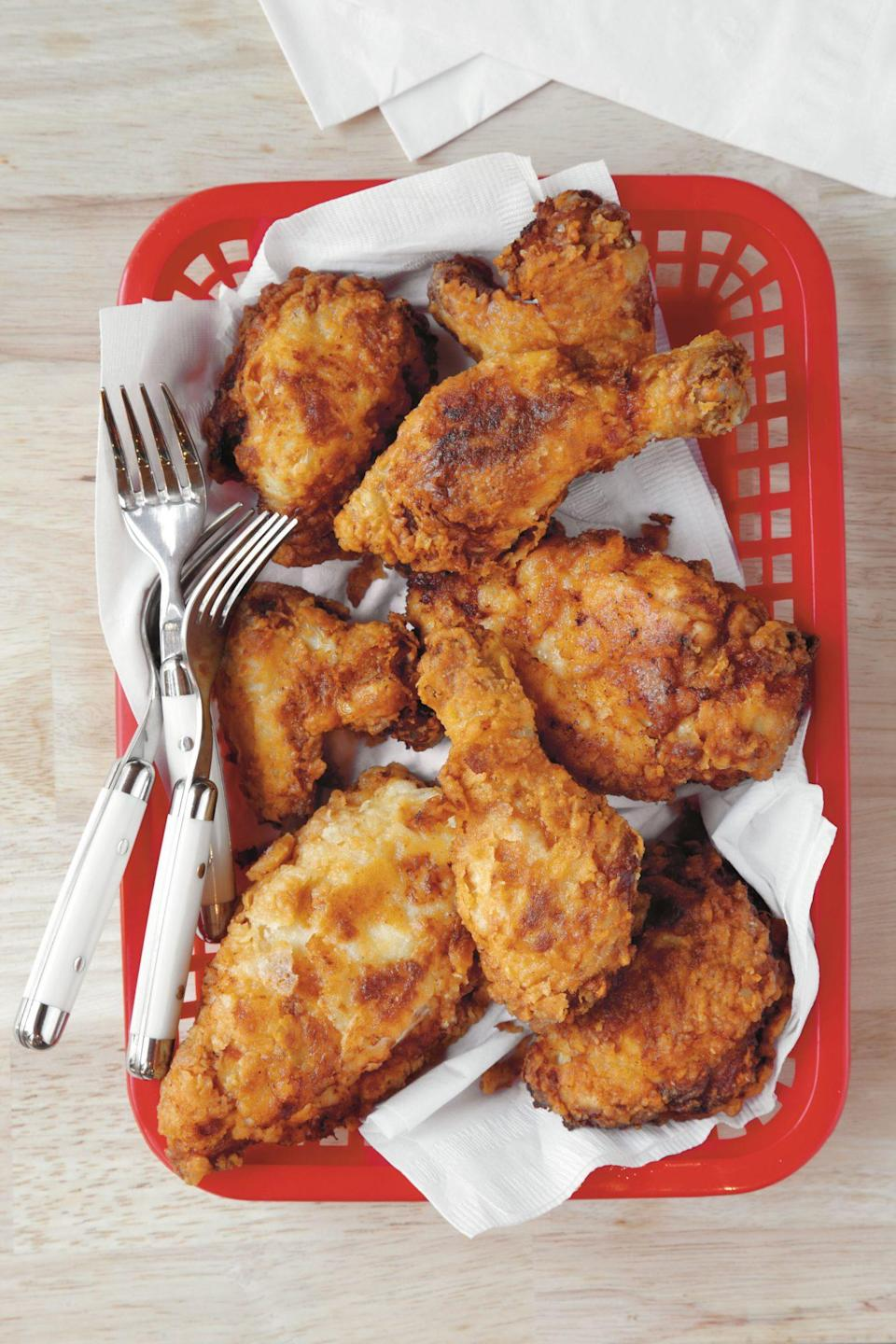 """<p><strong>Recipe: <a href=""""https://www.southernliving.com/recipes/mamas-fried-chicken"""" rel=""""nofollow noopener"""" target=""""_blank"""" data-ylk=""""slk:Mama's Fried Chicken"""" class=""""link rapid-noclick-resp"""">Mama's Fried Chicken</a></strong></p> <p>This traditional fried chicken recipe has a short, no-fuss ingredient list. </p>"""