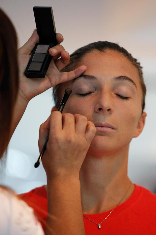 ISTANBUL, TURKEY - OCTOBER 20: Sara Errani of Italy attends the Oriflame Style Suite and has her make-up done during the previews of the TEB BNP Paribas WTA Championships at the Renaissance Polat Istanbul Hotel on October 20, 2013 in Istanbul, Turkey. (Photo by Dean Mouhtaropoulos/Getty Images)