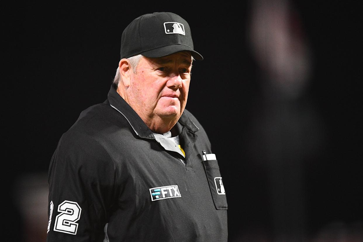 SAN FRANCISCO, CA - OCTOBER 01: Umpire Joe West looks on during a MLB game between the San Diego Padres and the San Francisco Giants on October 1, 2021 at Oracle Park in San Francisco, CA. (Photo by Brian Rothmuller/Icon Sportswire via Getty Images)