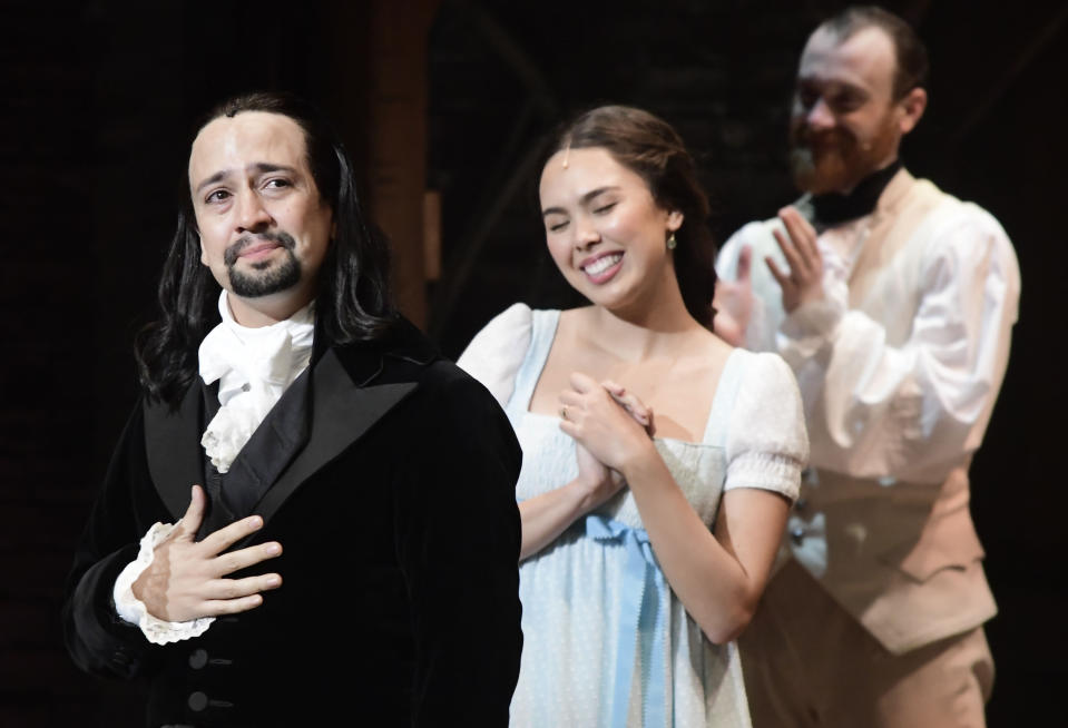 Lin-Manuel Miranda, creator of the award-winning Broadway musical, Hamilton, receives a standing ovation with tears at the ending of the play's premiere held at the Santurce Fine Arts Center, in San Juan, Puerto Rico, Friday, Jan. 11, 2019. The musical is set to run for two weeks and will raise money for local arts programs. (AP Photo/Carlos Giusti)