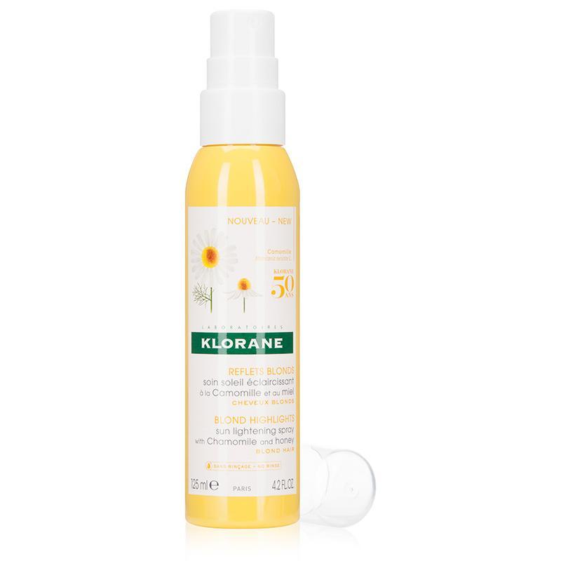 """<h3><strong>Klorane</strong> Sun Lightening Spray</h3> <br>Looking for a botanically-driven way to boost blonde? This formula taps chamomile extract to coax pigment out of hair, thus leaving a brighter tone behind. It's also the most subtly-scented of the bunch.<br><br><strong>Klorane</strong> Sun Lightening Spray with Chamomile and honey, $, available at <a href=""""https://go.skimresources.com/?id=30283X879131&url=https%3A%2F%2Fwww.kloraneusa.com%2Fsun-lightening-spray-with-chamomile-and-honey-125ml"""" rel=""""nofollow noopener"""" target=""""_blank"""" data-ylk=""""slk:Klorane"""" class=""""link rapid-noclick-resp"""">Klorane</a><br>"""