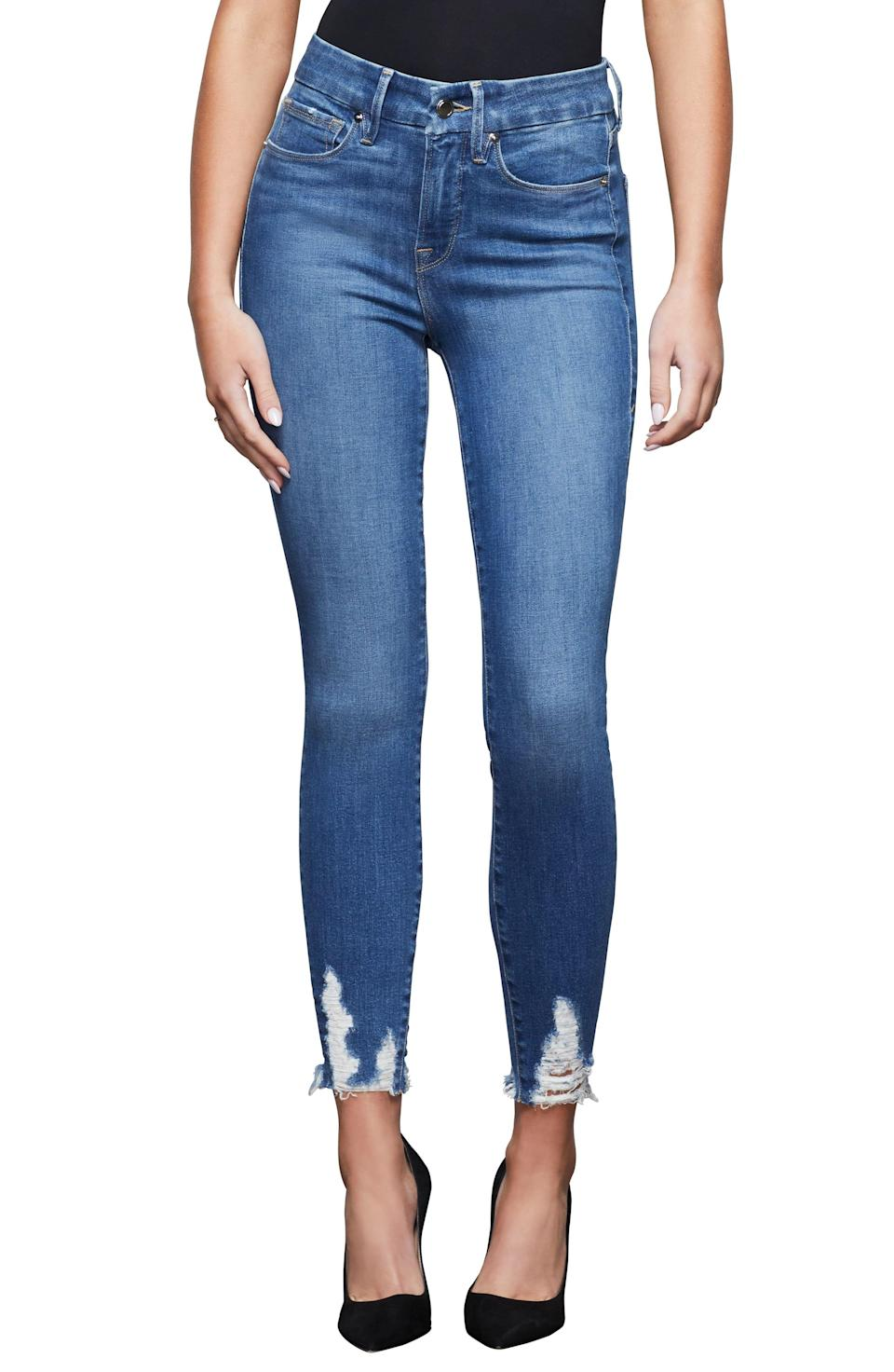 """<p><strong>GOOD AMERICAN</strong></p><p>nordstrom.com</p><p><strong>$95.40</strong></p><p><a href=""""https://go.redirectingat.com?id=74968X1596630&url=https%3A%2F%2Fwww.nordstrom.com%2Fs%2Fgood-american-good-legs-high-waist-chewed-hem-ankle-skinny-jeans-blue-433-regular-plus-size%2F5573880&sref=https%3A%2F%2Fwww.elle.com%2Ffashion%2Fshopping%2Fg34741930%2Fnordstrom-12-days-of-cyber-savings-sale%2F"""" rel=""""nofollow noopener"""" target=""""_blank"""" data-ylk=""""slk:Shop Now"""" class=""""link rapid-noclick-resp"""">Shop Now</a></p>"""