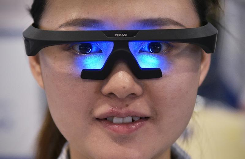 "Tech wearables such as these ""smart sleep"" glasses form a growing presence among the new products to be unveiled at the annual Consumer Electronics Show (AFP Photo/MANDEL NGAN)"