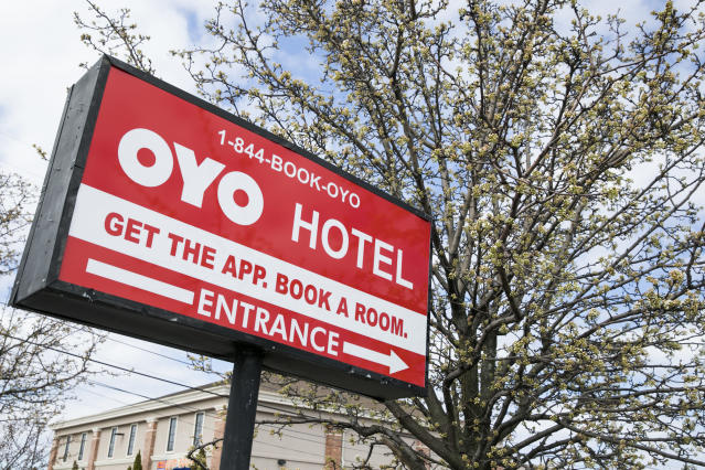A logo sign outside of a Oyo Rooms Hotel in East Hanover, New Jersey, on March 23, 2020. (Kristoffer Tripplaar/Sipa USA)