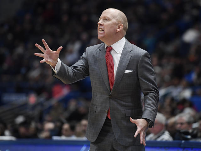 Cincinnati head coach Mick Cronin reacts during the second half of an NCAA college basketball game against Connecticut, Sunday, Feb. 24, 2019, in Hartford, Conn. (AP Photo/Jessica Hill)
