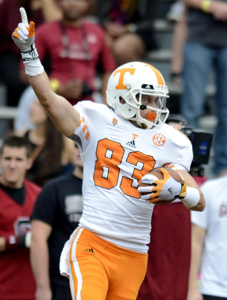 Tennessee's Zach Rogers celebrates his first half touchdown during an NCAA college football game South Carolina, Saturday, Oct. 27, 2012 at Williams-Brice Stadium in Columbia, S.C. South Carolina won 38-35. (AP Photo/Richard Shiro)
