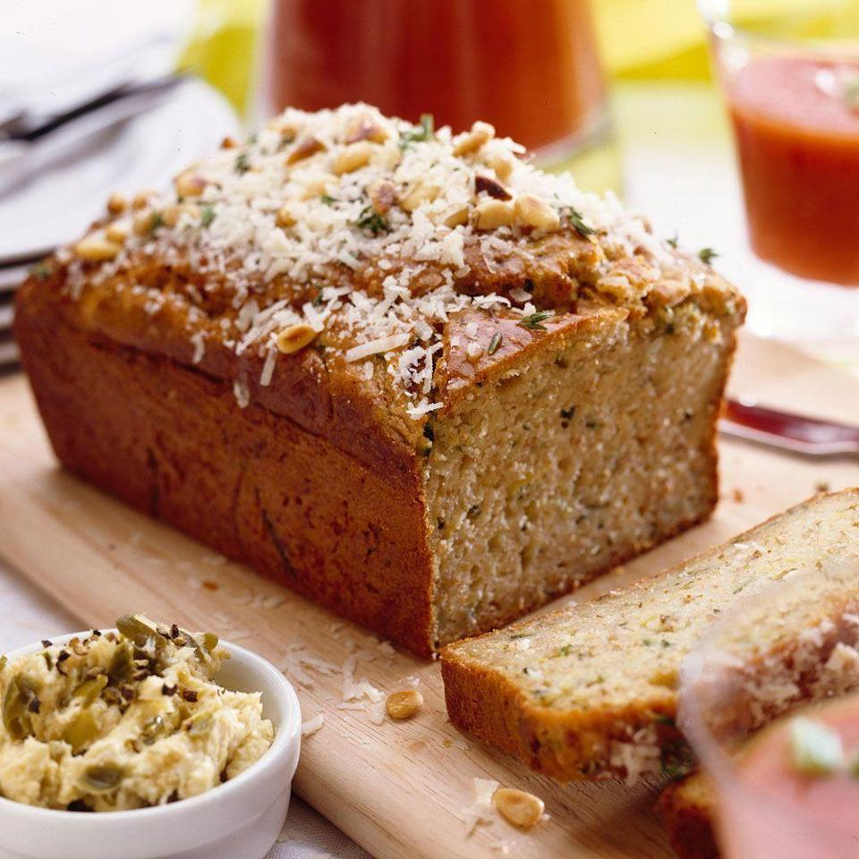"""<p>This simple courgette, lemon and parmesan bread recipe is great for brunch, a picnic or even a packed lunch.</p><p><strong>Recipe: <a href=""""https://www.goodhousekeeping.com/uk/food/recipes/a537658/quick-zucchini-lemon-and-parmesan-bread/"""" rel=""""nofollow noopener"""" target=""""_blank"""" data-ylk=""""slk:Courgette, lemon and Parmesan bread"""" class=""""link rapid-noclick-resp"""">Courgette, lemon and Parmesan bread</a></strong></p>"""