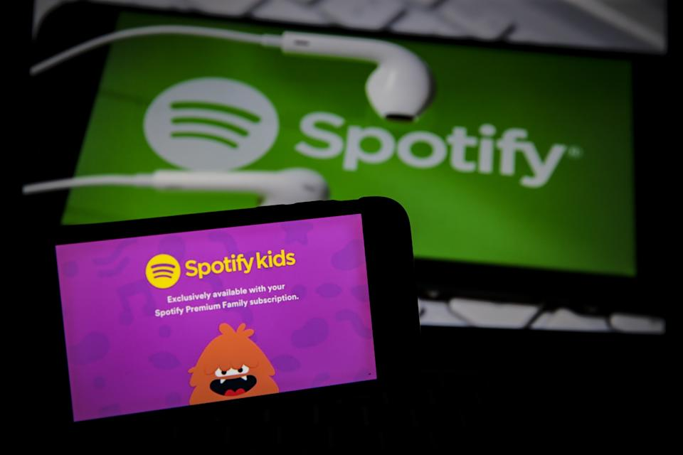 ANKARA, TURKEY - MAY 22: The logo of the Spotify kids is seen on a smartphone in front of the Spotify logo in Ankara, Turkey on May 22, 2020. Metin Aktas / Anadolu Agency