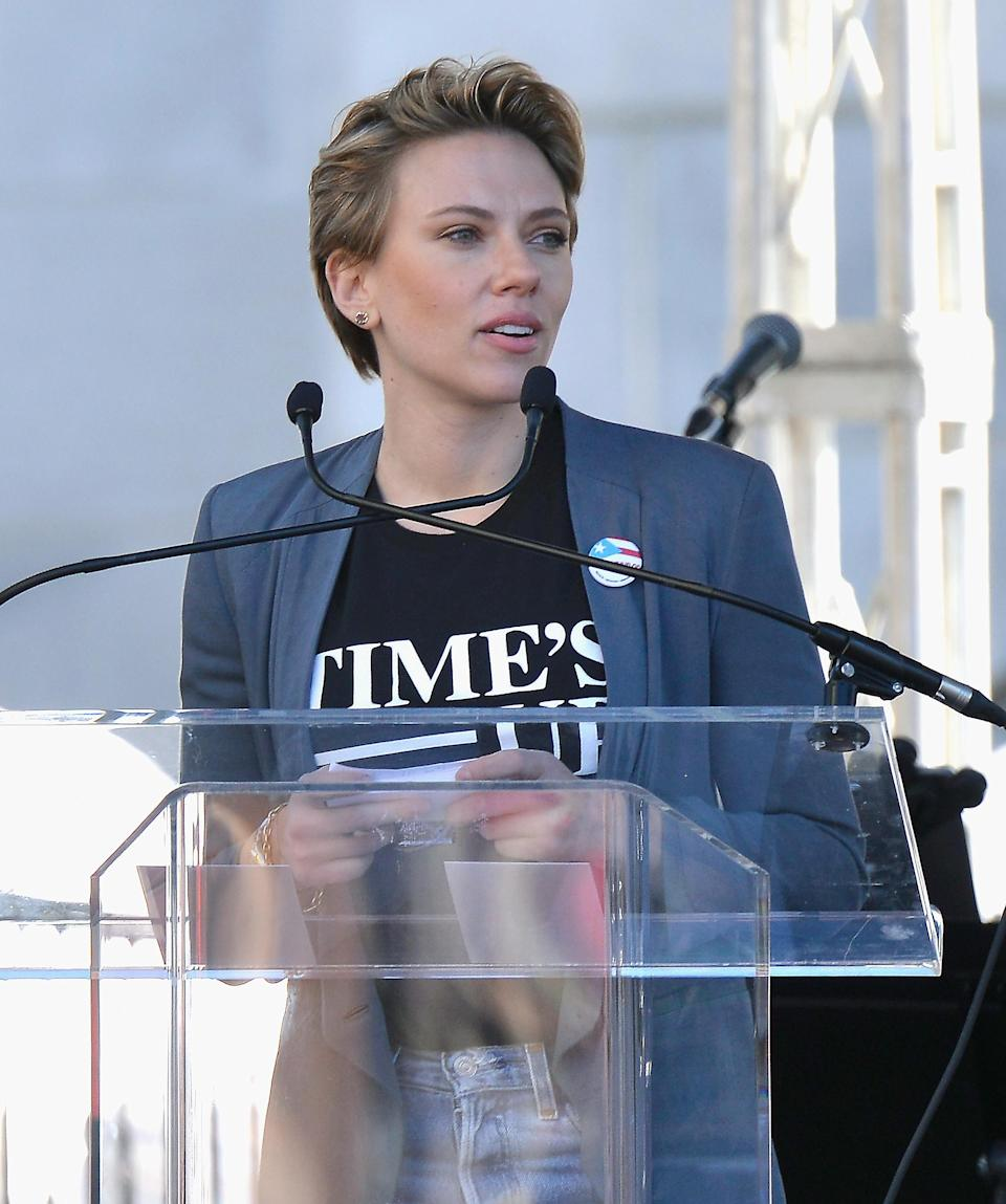 Johansson spoke at the Women's March in January 2018. (Photo: Chelsea Guglielmino/Getty Images)