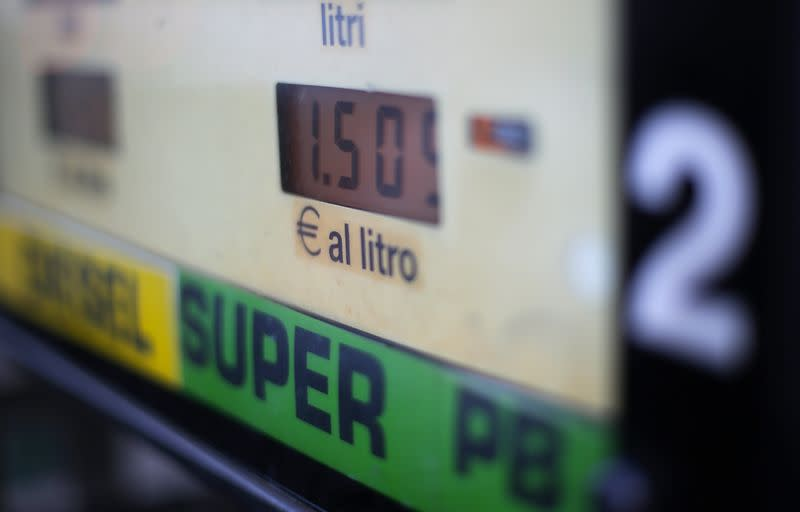 Fuel prices are seen on a petrol station pump in Rome