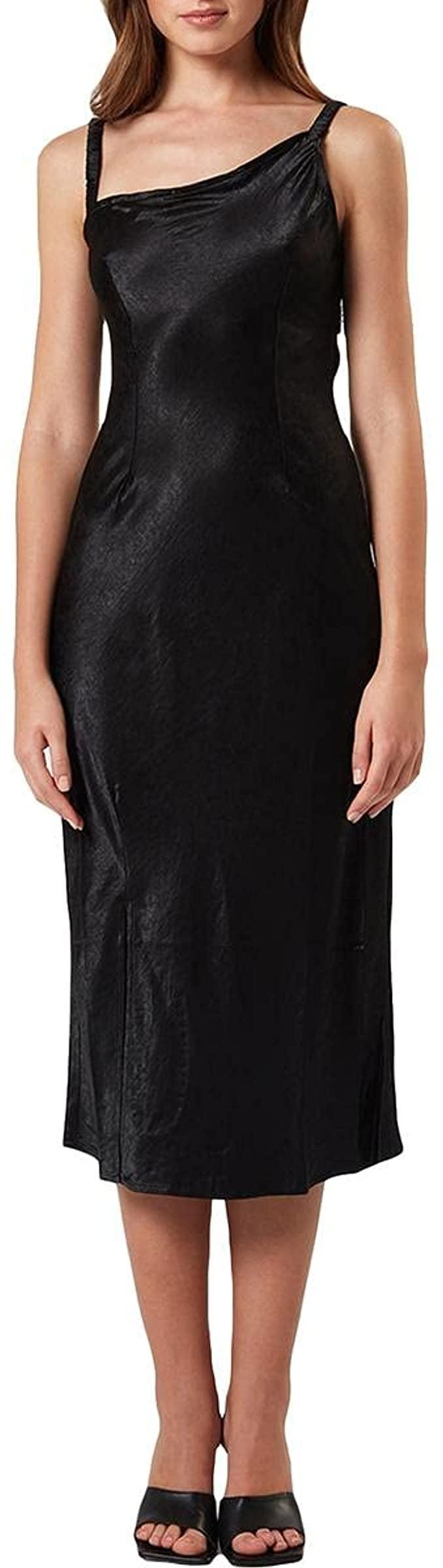 <p>The asymmetrical top of this <span>Charlie Holiday Veronica Satin Cocktail Midi Dress</span> ($46) makes it modern and unexpected. We also love that it flows into a relaxed hem, plus the fabric makes it look a lot more expensive than it is.</p>