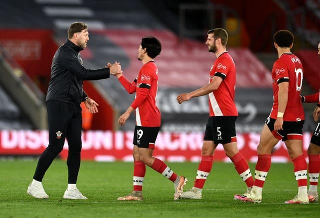 Ralph Hasenhuttl, left, congratulates his Southampton team after the win over Crystal Palace