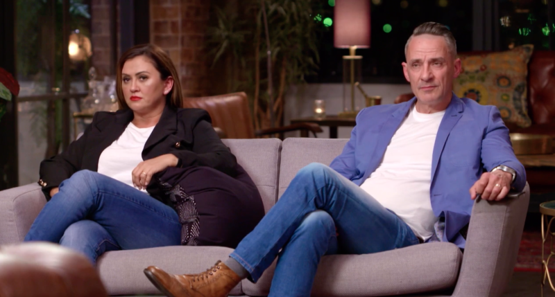 Steve and Mishel on Married At First Sight couch