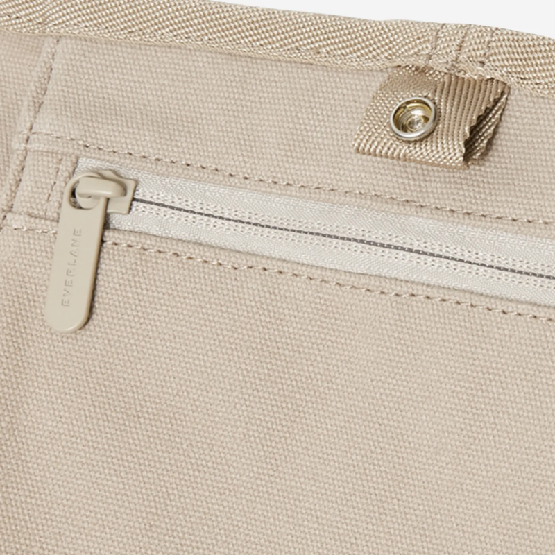 A zipper closure on Everlane's new Lantern Bag in Cement