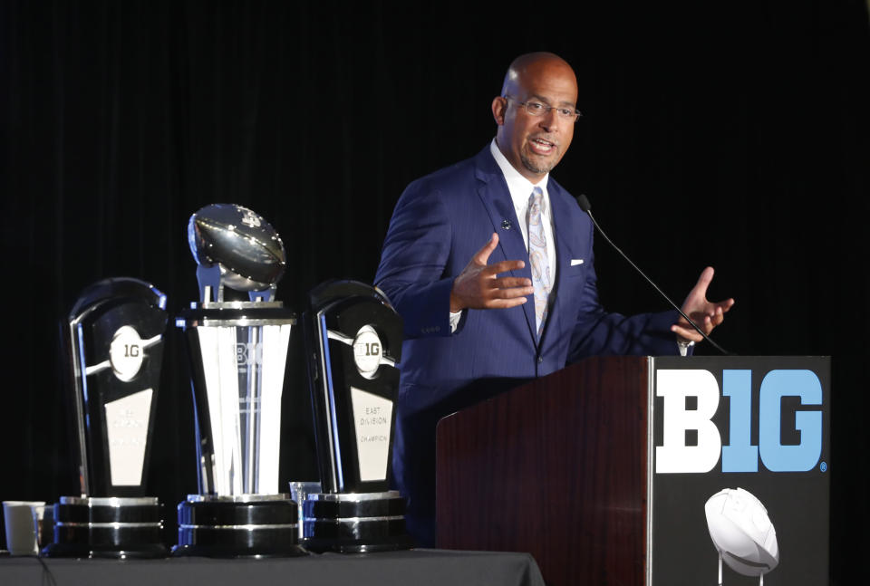 FILE - In this July 19, 2019, file photo, Penn State head coach James Franklin responds to a question during the Big Ten Conference NCAA college football media days, in Chicago. Big Ten is going to give fall football a shot after all. Less than five weeks after pushing football and other fall sports to spring in the name of player safety during the pandemic, the conference changed course Wednesday, Sept. 16, 2020, and said it plans to begin its season the weekend of Oct. 23-24.(AP Photo/Charles Rex Arbogast, File)