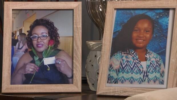Framed photos of Desmond's wife Shanna and 10-year-old daughter Aaliyah are displayed in the Borden family home, where they were killed.