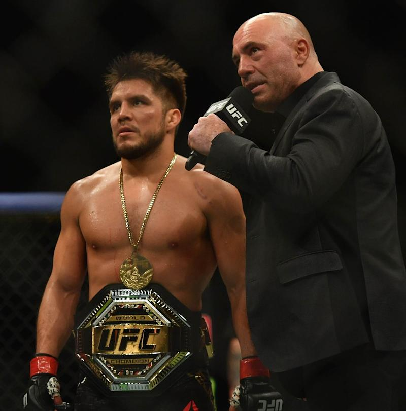 Joe Rogan is also a sports commentator; here interviewing Henry Cejudo after his fight during UFC 249 in Florida earlier this month