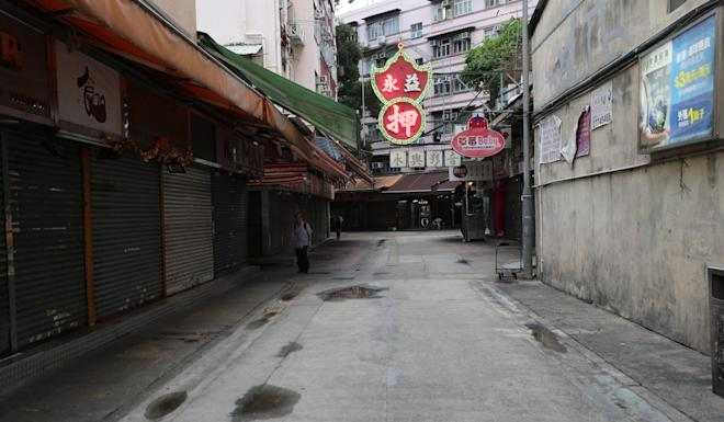 Another Yuen Long street stands empty on Monday. Photo: Sam Tsang