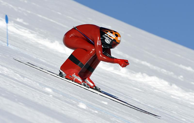 Simone Origone of Italy competes in the FIS Speed Skiing World Championships in 2009 in Vars, France.  (GERARD JULIEN via Getty Images)