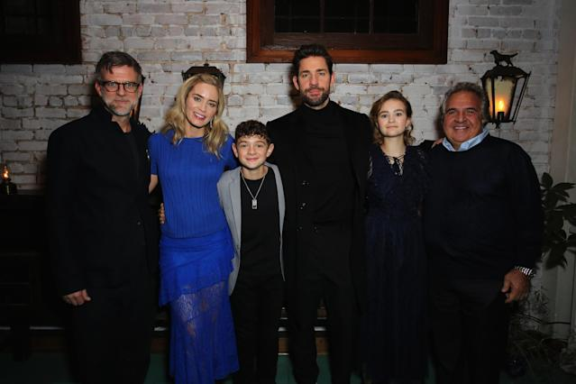 Paul Thomas Anderson, Emily Blunt, Noah Jupe, John Krasinski, Millicent Simmonds and Paramount Pictures Chairman and CEO Jim Gianopulos attend a special screening of A Quiet Place. (Photo by Rachel Murray/Getty Images for Paramount Pictures)