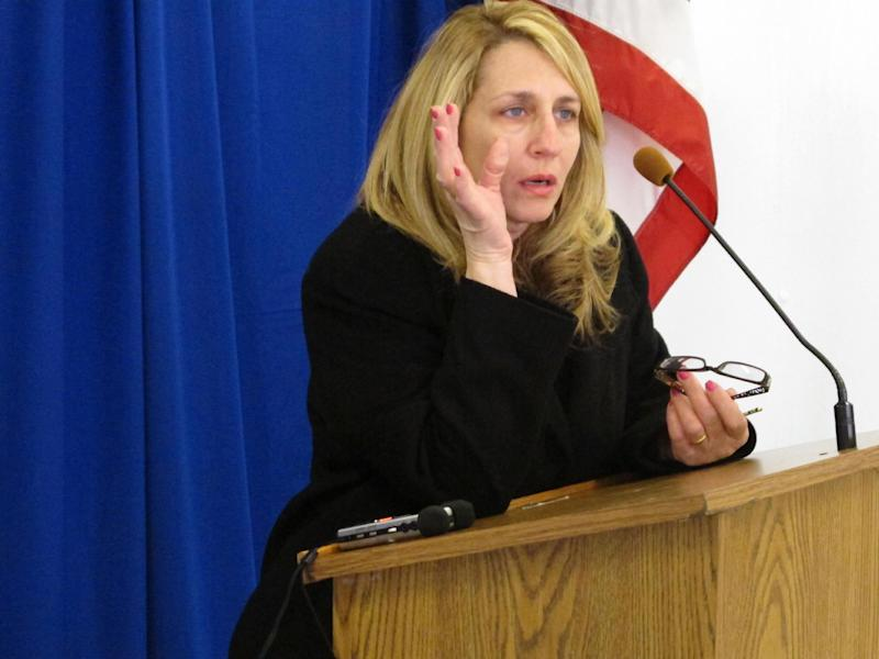 """Deanne Danno, sister-in-law of 1994 Michigan shooting victim Ghassan """"Gus"""" Danno, talks about her relief that a man implicated in her brother-in-law's death was executed, on Wednesday, March 6, at the Southern Ohio Correctional Facility in Lucasville, Ohio. Death row inmate Frederick Treesh was never tried in Gus Danno's death, but was executed for the Aug. 27, 1994 shooting death of an Eastlake, Ohio, adult bookstore security guard. (AP Photo/Andrew Welsh-Huggins)"""