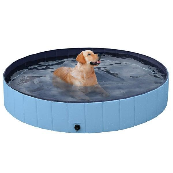 """<br><br><strong>Easyfashion</strong> Foldable Pet Swimming Pool Bathing Tub Indoor Outdoor Blue,63 x 12 inch, XXL, $, available at <a href=""""https://go.skimresources.com/?id=30283X879131&url=https%3A%2F%2Fwww.walmart.com%2Fip%2FFoldable-Pet-Swimming-Pool-Bathing-Tub-Indoor-Outdoor-Blue-63-x-12-inch-XXL%2F721615244"""" rel=""""nofollow noopener"""" target=""""_blank"""" data-ylk=""""slk:Walmart"""" class=""""link rapid-noclick-resp"""">Walmart</a>"""