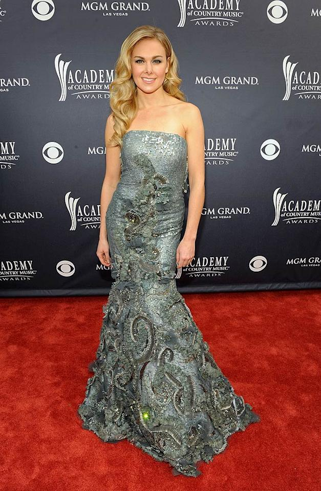"""Laura Bell Bundy  Grade: A-   All eyes were on actress/singer Laura Bell Bundy thanks to her shimmering, embroidered Jean Fares Couture strapless mermaid gown. Frazer Harrison/ACMA2011/<a href=""""http://www.gettyimages.com/"""" target=""""new"""">GettyImages.com</a> - April 3, 2011"""