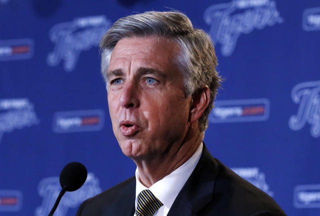 FILE - In this Dec. 4, 2013, file photo, Detroit Tigers general manager Dave Dombrowski answers a question at a news conference in Detroit. Dombrowski might be the most recognizable general manager in baseball. The Tigers begin another season among the favorites in the AL, owing much of their success to an executive who has remained at the top of his profession. (AP Photo/Paul Sancya, File)