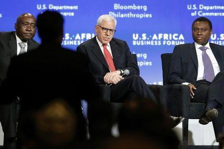 African Development Bank President Donald Kaberuka takes a question from the audience as he leads a panel discussion during the U.S.-Africa Business Forum in Washington