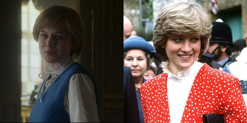 <p>Although this outfit isn't an exact replicate, the show clearly drew inspiration from a ruffled high collar shirt Princess Diana wore on a visit to Tetbury, England during her engagement. The Princess wore a very similar style throughout her first few years as a royal. <br></p>