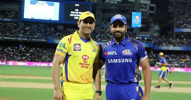 MS Dhoni with Rohit Sharma (picture courtesy: BCCI/iplt20.com)