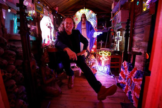 <p>Third generation neon light artist Marcus Bracey poses for a portrait picture in God's Own Junkyard gallery and cafe where he exhibits and sells his work in London, Britain, May 18, 2017. (Photo: Russell Boyce/Reuters) </p>
