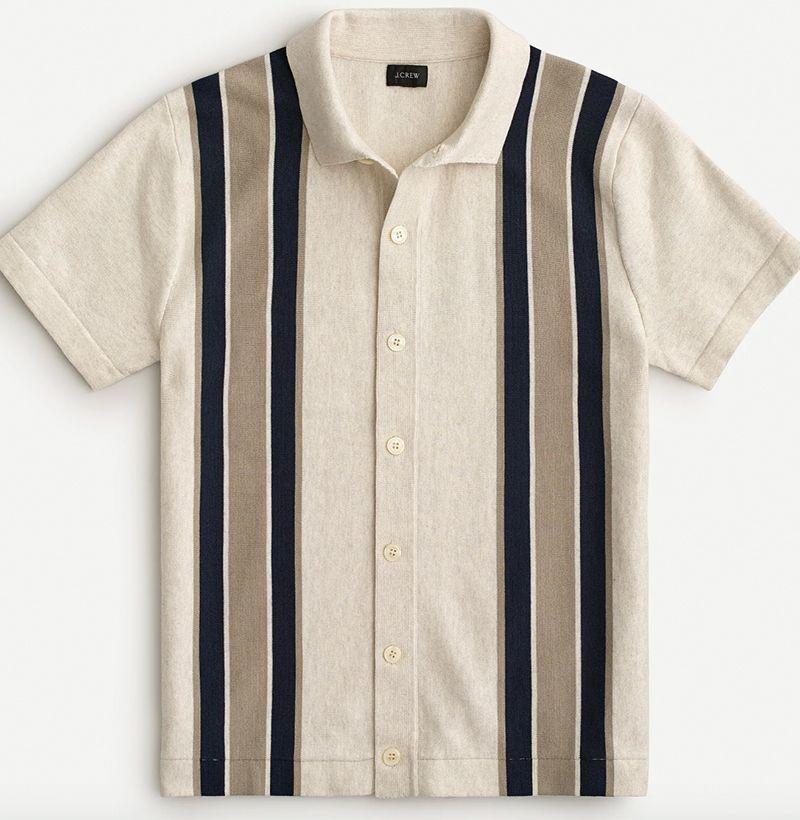 """<p><strong>J.Crew</strong></p><p>jcrew.com</p><p><strong>$47.70</strong></p><p><a href=""""https://go.redirectingat.com?id=74968X1596630&url=https%3A%2F%2Fwww.jcrew.com%2Fm%2Fmens_category%2Fpolos%2Fsweaterpolos%2Fshortsleeve-polo-sweater%2FMP152%3Fcolor_name%3Dstripe-ash&sref=https%3A%2F%2Fwww.esquire.com%2Fstyle%2Fmens-fashion%2Fg32644642%2Fcheap-memorial-day-sales-mens-fashion%2F"""" rel=""""nofollow noopener"""" target=""""_blank"""" data-ylk=""""slk:Buy"""" class=""""link rapid-noclick-resp"""">Buy</a></p><p>Who says you can't wear a sweater in the summer?</p>"""