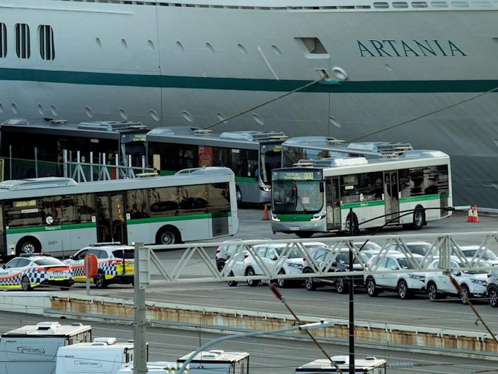 Passengers from MV Artania are transferred with a police escort to Perth International Airport on March 29, 2020.