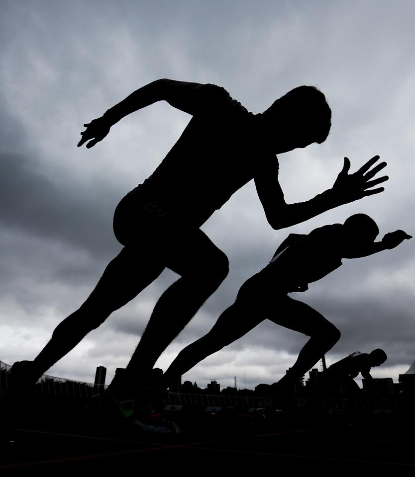 <p>Athletes compete in the Men's 100-meter finals during Day 3 of the 2017 Loterias Caixa Paralympics Athletics Open Championships at Brazilian Paralympic Training Center, April 23, 2017, in Sao Paulo. (Alexandre Schneider/Getty Images) </p>
