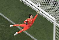 <p>Mexico's goalkeeper Guillermo Ochoa in action during the Russia 2018 World Cup Group F football match between Germany and Mexico at the Luzhniki Stadium in Moscow on June 17, 2018. (Photo by Antonin THUILLIER / AFP) </p>