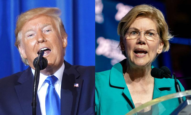 "Trump called Sen. Warren a ""very nervous and skinny version of Pocahontas"" in his later Twitter rant. (Photos: Getty Images)"