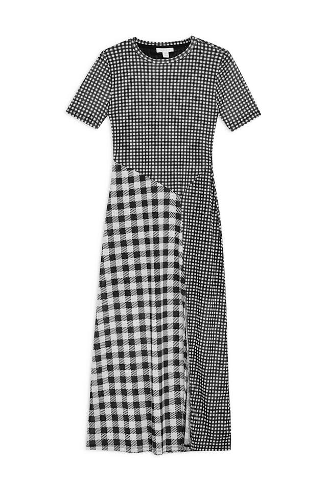 "<p><strong>TOPSHOP</strong></p><p>nordstrom.com</p><p><strong>$68.00</strong></p><p><a href=""https://shop.nordstrom.com/s/topshop-gingham-midi-dress/5323833"" target=""_blank"">SHOP IT</a></p><p>What makes this dress unique is the fusion of two different types of black-and-white gingham prints. You have your mini squares and your large squares while the thigh-high slit gives it a sexy yet wearable appeal. Dress it down with sneakers or up with kitten mules.</p>"