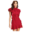 """Sometimes mixing different details just works, and this red mini dress is no exception. With the bow-tie neck and ruffles all over, it makes a big statement. (Best part? It clocks in at under $35.) $33, Amazon. <a href=""""https://www.amazon.com/Floerns-Womens-Ruffle-Short-Cocktail/dp/B078VZZYBQ"""" rel=""""nofollow noopener"""" target=""""_blank"""" data-ylk=""""slk:Get it now!"""" class=""""link rapid-noclick-resp"""">Get it now!</a>"""
