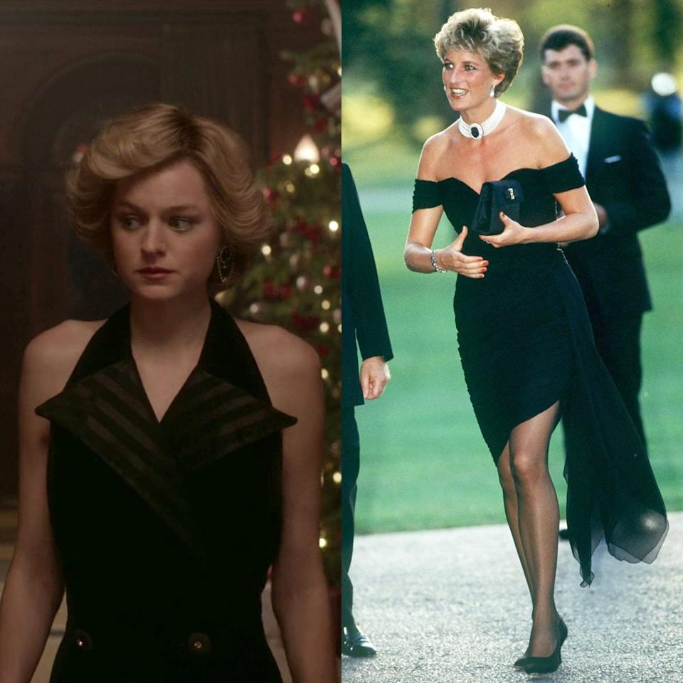 Emma Corrin in a revenge dress in season four of The Crown; Diana in her famous Christina Stambolian LBD at the Serpentine Gallery in June 1994 - Netflix/ Getty