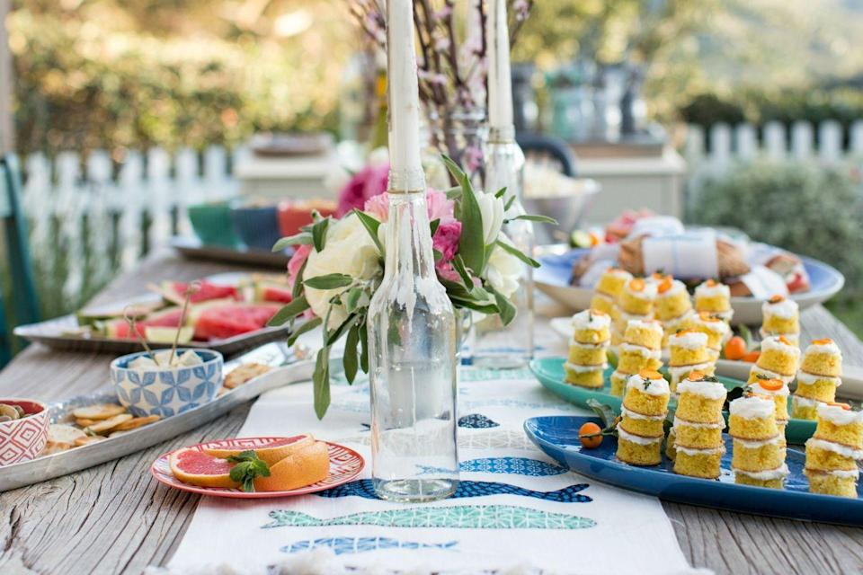 """<p>Replace flimsy paper products with reusable (and unbreakable) dishware, says entertaining pro <a href=""""https://www.goodhousekeeping.com/food-recipes/party-ideas/tips/a32365/emily-henderson-target-spring-entertaining/"""" rel=""""nofollow noopener"""" target=""""_blank"""" data-ylk=""""slk:Emily Henderson"""" class=""""link rapid-noclick-resp"""">Emily Henderson</a>. Better yet, pick out a set in fun, beachy colors. </p>"""