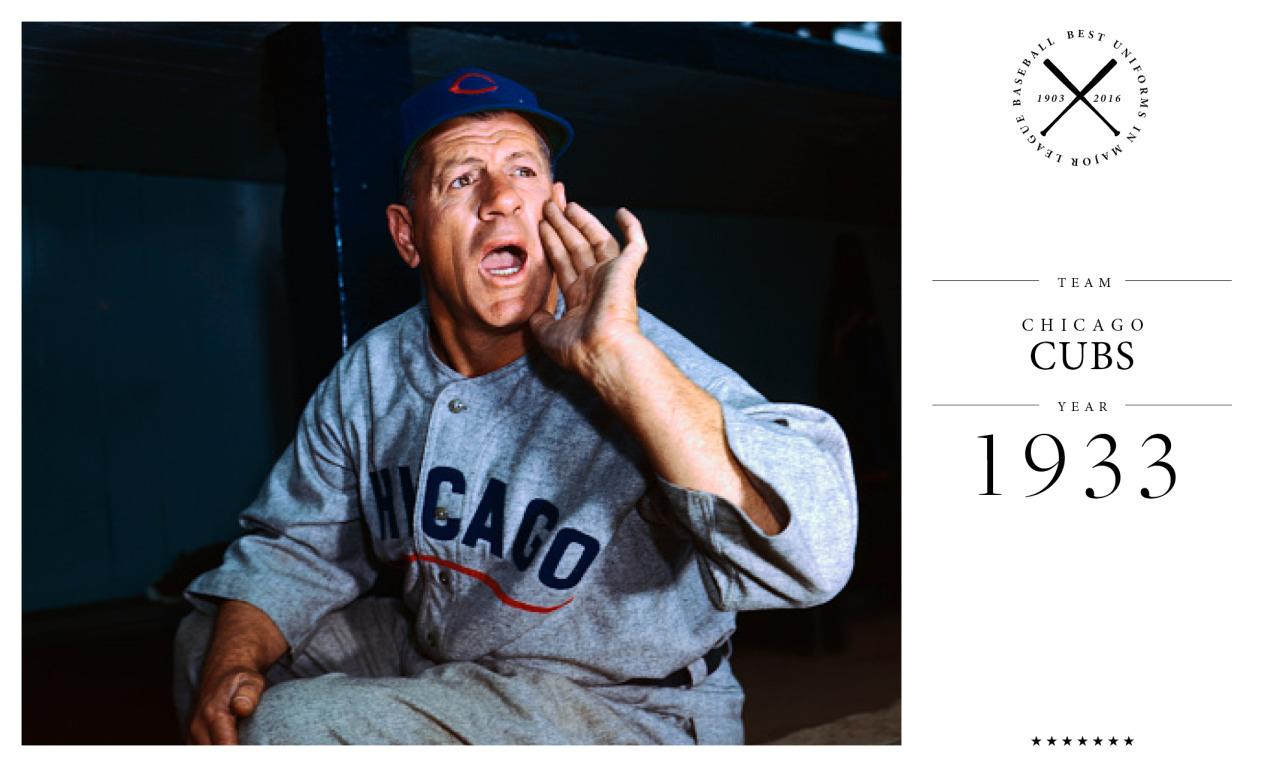 """<p>There have been <a href=""""http://blog.heritagesportsart.com/2010/08/chicago-cubs-uniform-and-team-history.html"""">many iterations of the Cubs uniform</a>, even in the early years. In 1908 the team wore white-collared dress shirts. The team settled on this minimal gray ensemble in the 1930s (seen here on team manager Charlie Grimm). What's interesting about this uniform is that it incorporated both the team's city (on the front of the jersey) and nickname (on the side of sleeve). Only a handful of teams had ever worn both logos in a single ensemble.<i>(Photo: Getty Images)</i></p>"""