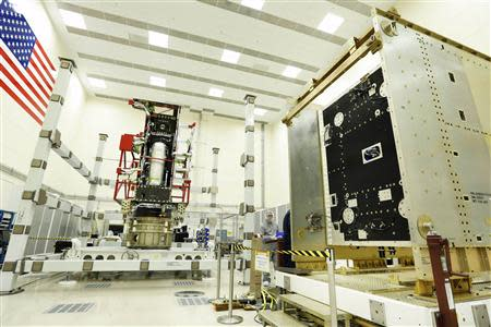 Lockheed Martin handout photo shows modules of the first GOES-R series weather satellite being readied at Lockheed Martin's clean room near Denver