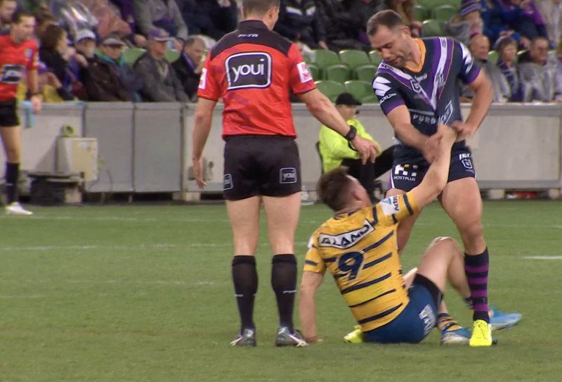 Cameron Smith, pictured here in a tangle with Reed Mahoney.