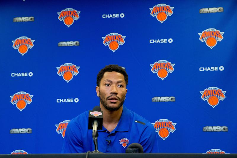 63d78b3b9226 Derrick Rose speaks during a news conference at Madison Square Garden