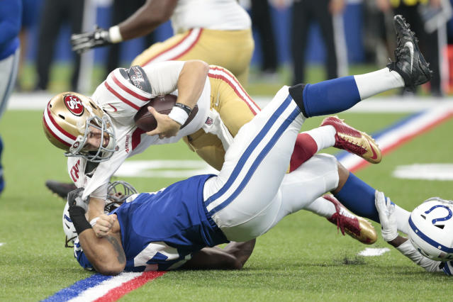 Indianapolis Colts defensive end Ryan Delaire (75) sacks San Francisco 49ers quarterback C.J. Beathard (3) in the second half of an NFL preseason football game in Indianapolis, Saturday, Aug. 25, 2018. (AP Photo/AJ Mast)