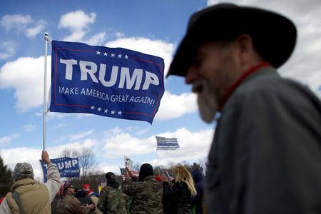 "Supporters of President Donald Trump gather for a ""People 4 Trump"" rally at Neshaminy State Park in Bensalem, Pennsylvania, U.S. March 4, 2017.  REUTERS/Mark Makela"